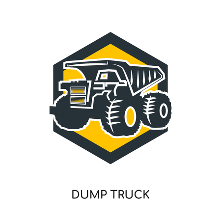 dump truck logo isolated on white background for your web, mobile and app design