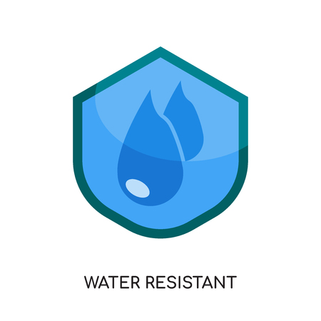 water resistant logo isolated on white background for your web, mobile and app design