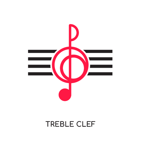 Treble clef icon isolated on white background for your web, mobile and app design.
