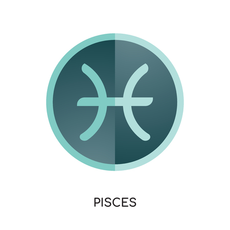 Pisces logo isolated on white background for your web, mobile and app design