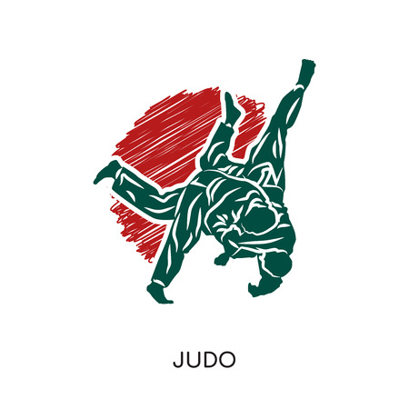 Judo logo isolated on white background for your web, mobile and app design Illusztráció