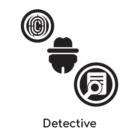 Detective isolated on white background for your web and mobile app design , black filled vector sign and symbols