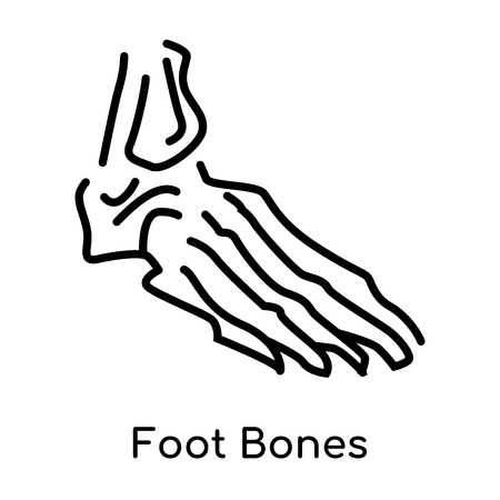 Foot Bones icon isolated on white background for your web and mobile app design , vector black sign and symbol , outline thin element