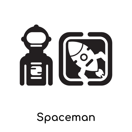 Spaceman isolated on white background for your web and mobile app design , black filled vector sign and symbols Vectores