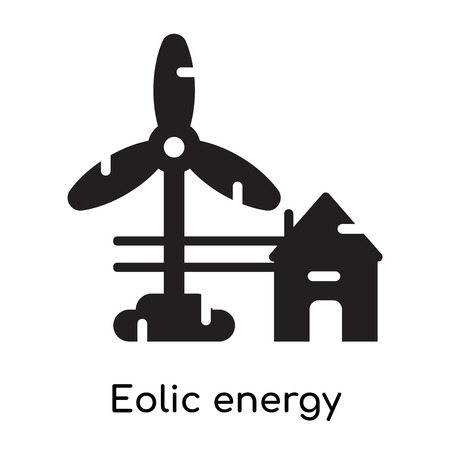 Eolic energy icon isolated on white background for your web and mobile app design , black filled vector sign and symbols Stock Illustratie