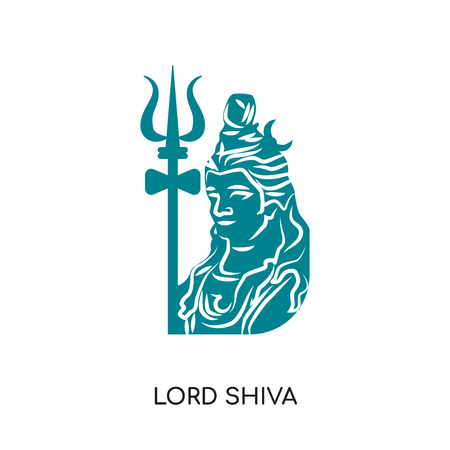 Lord shiva isolated on white background for your web and mobile app design. Çizim