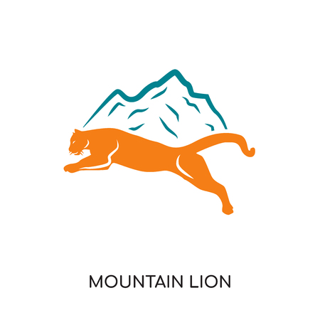 Mountain lion isolated on white background for your web and mobile app design , colorful vector icon, brand sign Illustration