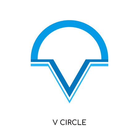Letter V and half circle isolated on white background for your web and mobile app design. Illustration