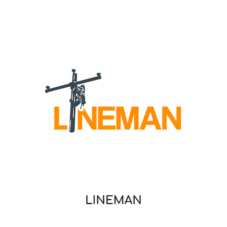 Lineman isolated on white background for your web and mobile app design. Illustration