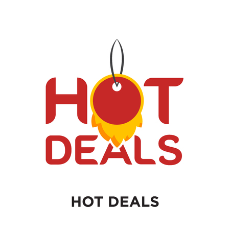 hot deals logo isolated on white background for your web and mobile app design , colorful vector icon, brand sign & symbol for your business