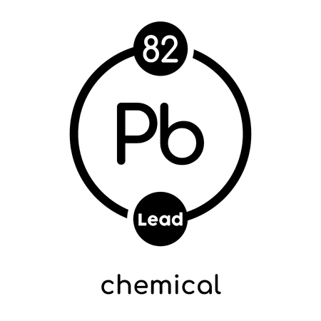 Chemical symbol, lead isolated on white background for your web and mobile app design.