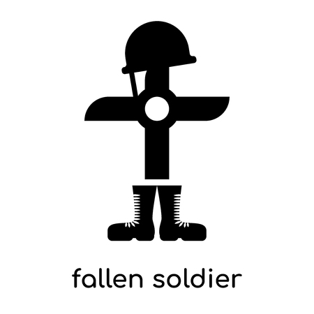 Fallen soldier isolated on white background for your web and mobile app design.