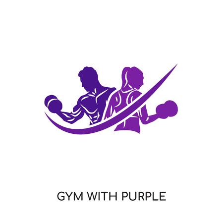 Gimnasio con logo morado aislado sobre fondo blanco para su diseño web y aplicaciones móviles, icono de vector colorido, signo y símbolo de marca para su negocio Logos