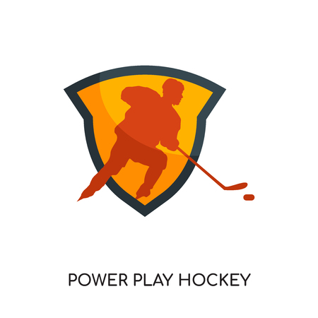 power play hockey logo isolated on white background for your web and mobile app design , colorful vector icon, brand sign & symbol for your business