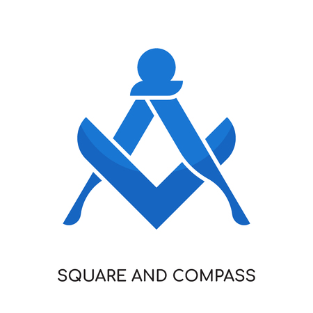 square and compass logo isolated on white background for your web and mobile app design , colorful vector icon, brand sign & symbol for your business