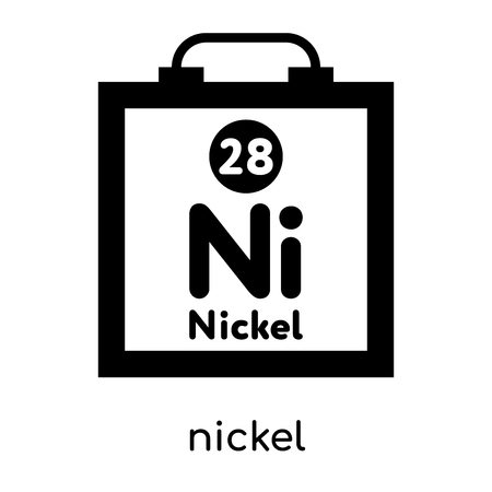 nickel symbol periodic table isolated on white background for your web and mobile app design , black vector sign and symbols Illustration