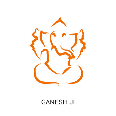 ganesh ji logo isolated on white background for your web and mobile app design , colorful vector icon, brand sign & symbol for your business
