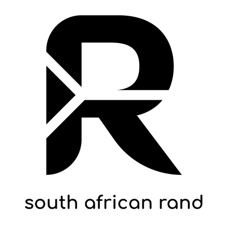 south african rand symbol isolated on white background for your web and mobile app design , black vector sign and symbols