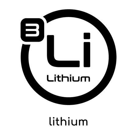 Lithium symbol periodic table isolated on white background for your web and mobile app design , black vector sign and symbols Stock Illustratie