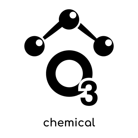 chemical symbol for ozone isolated on white background for your web and mobile app design , black vector sign and symbols Illustration