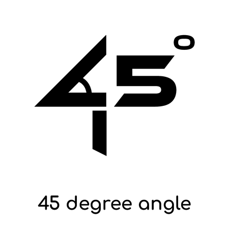 45 degree angle symbol isolated on white background for your web and mobile app design , black vector sign and symbols Illustration