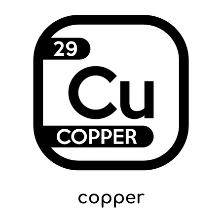 Copper Symbol Periodic Table Isolated On White Background For