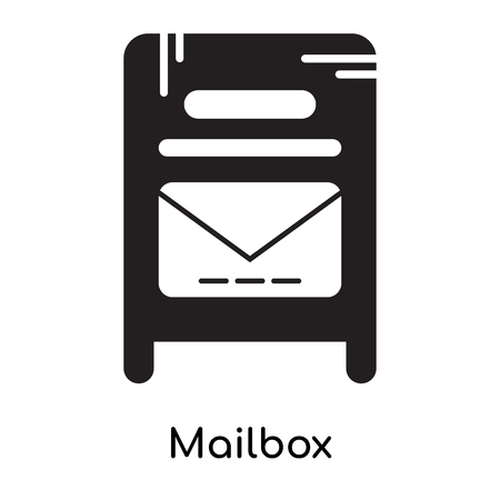 Mailbox icon isolated on white background for your web and mobile app design , black filled vector sign and symbols