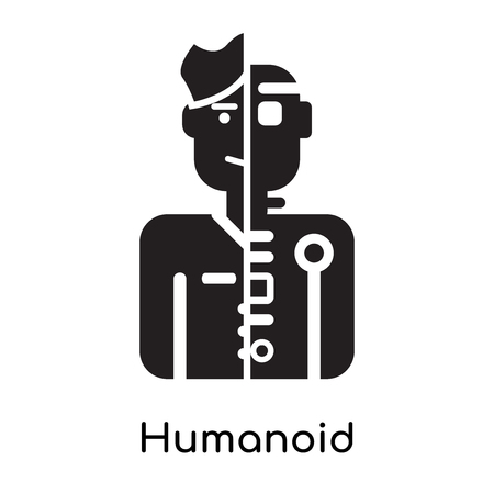 Humanoid icon isolated on white background for your web and mobile app design, black filled vector sign and symbols