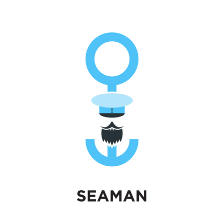 seaman logo isolated on white background for your web and mobile app design , colorful vector icon, brand sign & symbol for your business