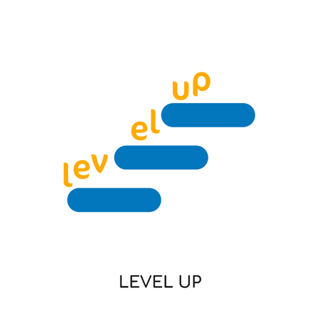 level up logo isolated on white background for your web and mobile app design , colorful vector icon, brand sign & symbol for your business Illustration