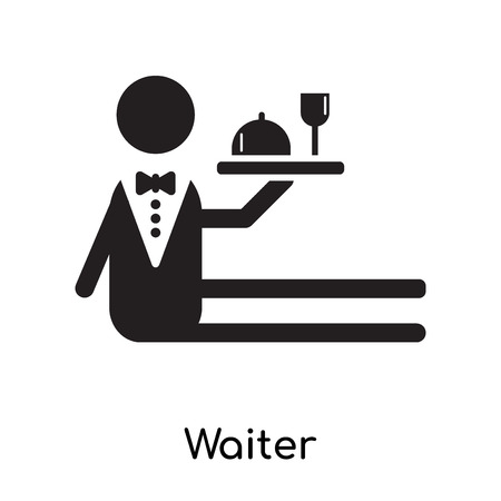 Waiter isolated on white background for your web and mobile app design , black filled vector sign and symbols
