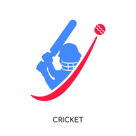 cricket logo design isolated on white background for your web and mobile app design , colorful vector icon, brand sign & symbol for your business Ilustracja