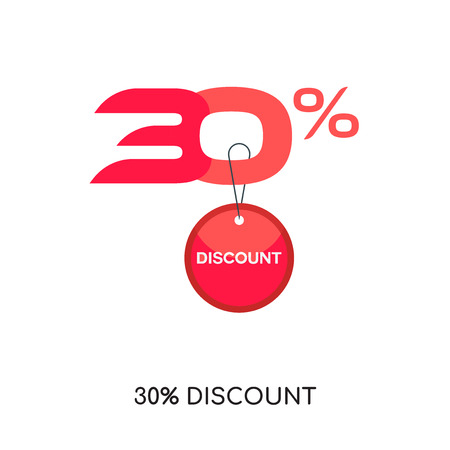 30% discount logo isolated on white background for your web and mobile app design , colorful vector icon, brand sign & symbol for your business 向量圖像