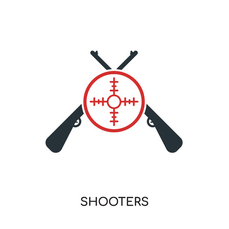 shooters logo isolated on white background for your web and mobile app design , colorful vector icon, brand sign & symbol for your business