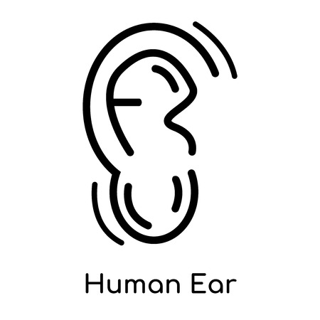 Human Ear icon isolated on white background for your web and mobile app design , vector black sign and symbol , outline thin element Illustration