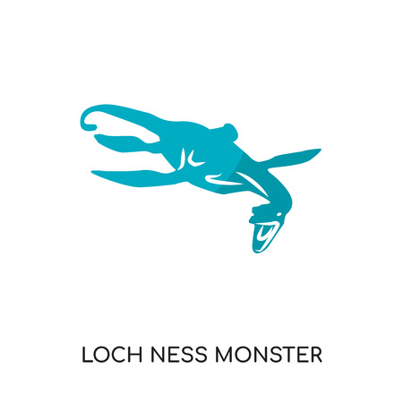 loch ness monster logo isolated on white background for your web and mobile app design , colorful vector icon, brand sign & symbol for your business