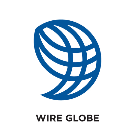 wire globe logo isolated on white background for your web and mobile app design , colorful vector icon, brand sign & symbol for your business Illustration