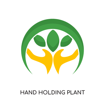 hand holding plant logo isolated on white background for your web and mobile app design , colorful vector icon, brand sign & symbol for your business Illustration