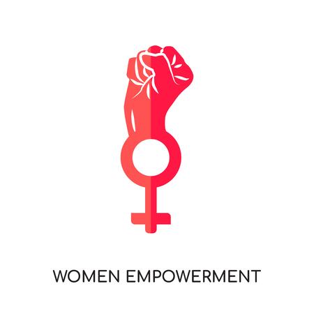 Frauen-Ermächtigungslogo lokalisiert auf weißem Hintergrund für Ihr Web- und mobiles App-Design, buntes Vektorsymbol, flaches Zeichen und Symbol