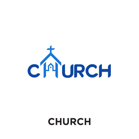 church logo images isolated on white background for your web and mobile app design , colorful vector icon, brand sign & symbol for your business Vectores