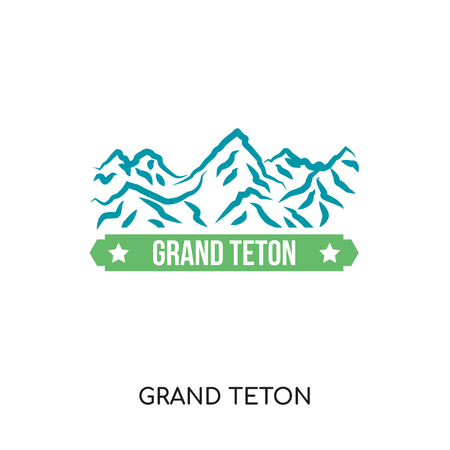 grand teton logo isolated on white background for your web and mobile app design , colorful vector icon, brand sign & symbol for your business  イラスト・ベクター素材