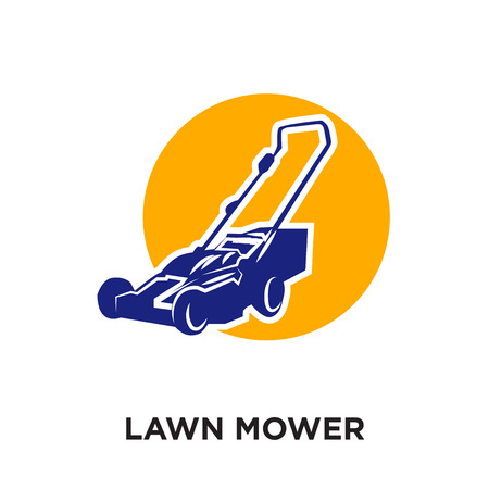 lawn mower logo isolated on white background for your web and mobile app design , colorful vector icon, brand sign & symbol for your business  イラスト・ベクター素材