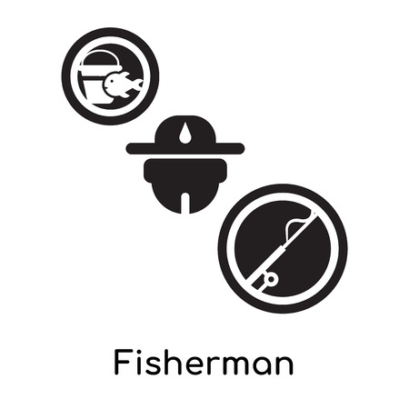 Fisherman isolated on white background for your web and mobile app design , black filled vector sign and symbols