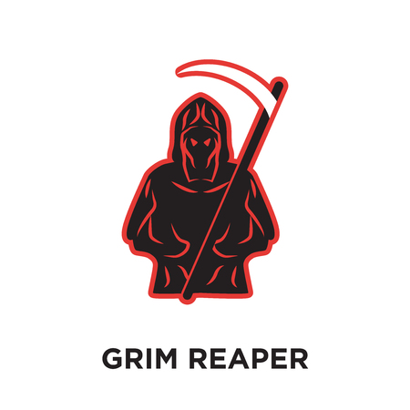 grim reaper logo isolated on white background for your web and mobile app design , colorful vector icon, brand sign & symbol for your business Illustration