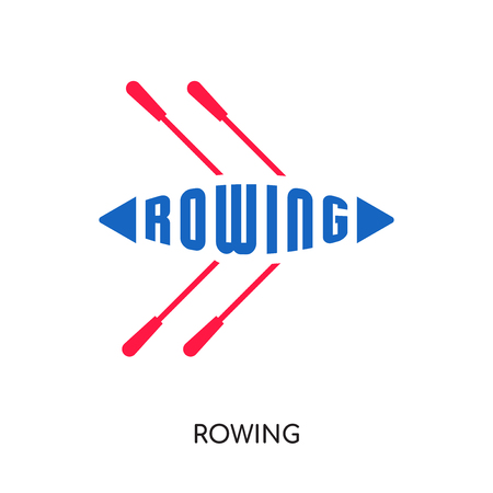 rowing logo isolated on white background for your web and mobile app design colorful vector icon  イラスト・ベクター素材