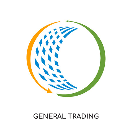 general trading logo isolated on white background for your web and mobile app design , colorful vector icon, brand sign & symbol for your business  イラスト・ベクター素材