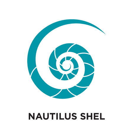 nautilus shell logo isolated on white background for your web and mobile app design , colorful vector icon, brand sign & symbol for your business Çizim