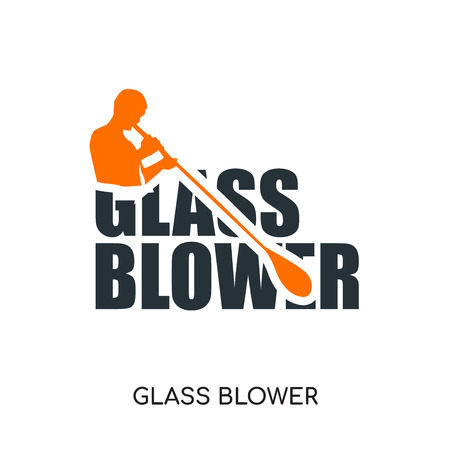 glass blower logo isolated on white background for your web and mobile app design , colorful vector icon, brand sign & symbol for your business