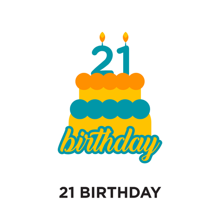 21 birthday logo design isolated on white background for your web and mobile app design , colorful vector icon, brand sign & symbol for your business Stock Illustratie