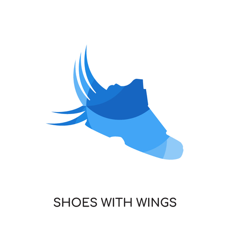 shoes with wings logo isolated on white background for your web and mobile app design , colorful vector icon, brand sign & symbol for your business